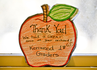 Thank you gift from Kenwood first graders to Allen's Orchard